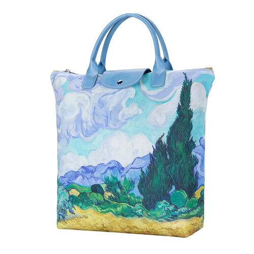 Signare Tapestry - Van Gogh Artwork Wheatfield with Cypresses Foldaway Shopping Bag (Size 30x9x36cm) - Multi Colour
