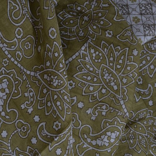 Designer Inspired - 100% Cotton Olive Green and White Colour Printed Scarf with Tassels (Size 200x180 Cm)