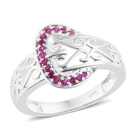 Designer Inspired - One Time Deal Burmese Ruby (Rnd) Buckle Ring in Sterling Silver.