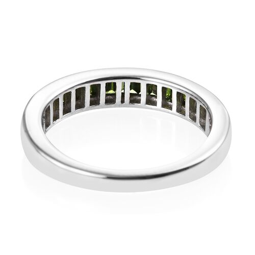 9K White Gold Green Diamond (Bgt) Half Eternity Band Ring 0.500 Ct.