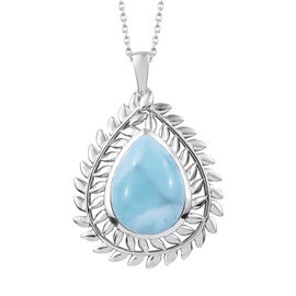 Larimar (Pear 20x15 mm) Pendant With Chain (Size 18) in Platinum Overlay Sterling Silver 16.750 Ct, Silver wt 8.67 Gms