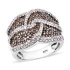 Natural Champagne and White Diamond (Rnd) Ring (Size O) in Platinum Overlay Sterling Silver 1.50 Ct, Silver w