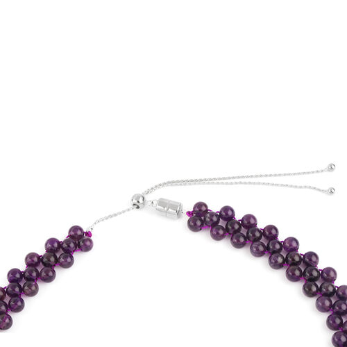 Amethyst Adjustable Beads Necklace (Size 16 to 20) in Rhodium Plated Sterling Silver 161.700 Ct.