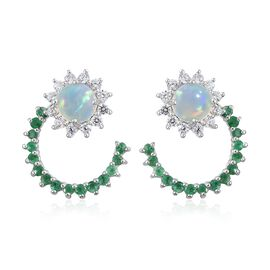 Ethiopian Welo Opal (Rnd), Natural Cambodian Zircon and Kagem Zambian Emerald J Hoop Earrings (with Push Back) in Platinum Overlay Sterling Silver 3.750 Ct.