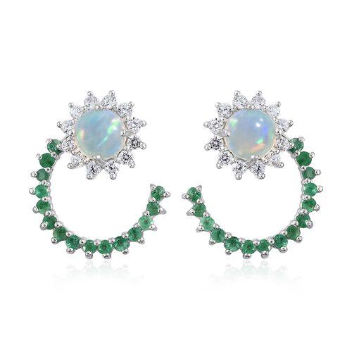 Ethiopian Welo Opal (Rnd), Natural Cambodian Zircon and Kagem Zambian Emerald J Hoop Earrings (with