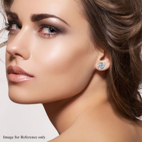 J Francis - Platinum Overlay Sterling Silver Stud Earrings (with Push Back) Made with SWAROVSKI ZIRCONIA 0.92 Ct.