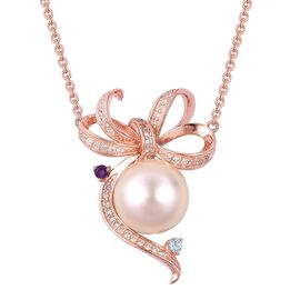 Rare Size South Sea Golden Pearl (Rnd 10-10.5 mm), Swiss Blue Topaz, Amethyst and Natural White Cambodian Zircon Bow Necklace (Size 18) Rose Gold Overlay Sterling Silver