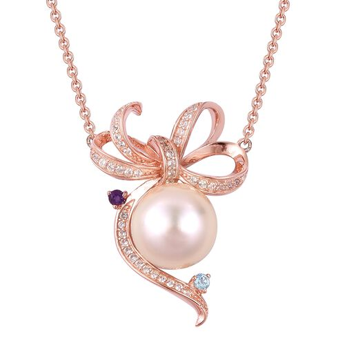 Rare Size South Sea Golden Pearl (Rnd 10-10.5 mm), Swiss Blue Topaz, Amethyst and Natural White Camb