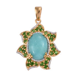 6.5 Ct Peruvian Amazonite and Russian Diopside Floral Pendant in Gold Plated Sterling Silver