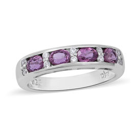 Natural Lavender Sapphire and Natural Cambodian Zircon Ring in Rhodium Overlay Sterling Silver 1.24
