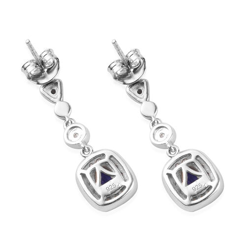 AAA Tanzanite and Natural Cambodian Zircon Dangle Earrings (with Push Back) in Platinum Overlay Sterling Silver 1.25 Ct.