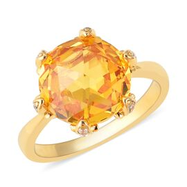 ELANZA Simulated Citrine (Rnd) and Simulated Diamond Ring in Yellow Gold Overlay Sterling Silver