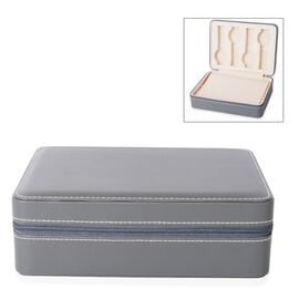4 Slot Watches and 8 Ring Rows Jewellery Box with Zipper (Size 24x18x7.5 Cm), Grey Colour