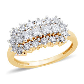 ILIANA 1 Carat Diamond Cluster Ring in 18K Gold 4 Grams IGI Certified SI GH