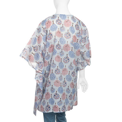 100% Cotton Blue, Red and Off White Colour Tree Pattern Kaftan (Size 80x70 Cm)