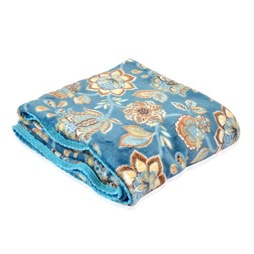 Superfine 290 GSM Microfibre Printed Flannel Blanket with Floral Design and Knitted Border 150X200 cm