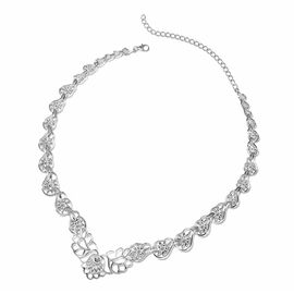 LucyQ Lace Floral Necklace in Rhodium Plated Silver 54 Grams 16 with 4 inch Extender