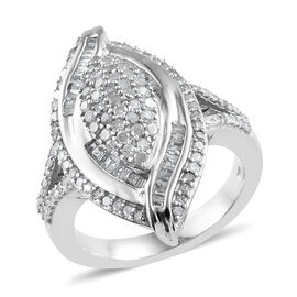 Designer Inspired- Diamond (Rnd and Bgt) Ring in Platinum Overlay Sterling Silver 1.000 Ct, Silver wt 6.00 Gms.