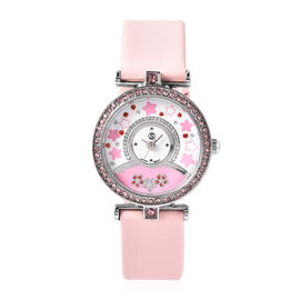 Pink Swarovski Crystal  Ladies Watch Pure White Stainless Steel  0.00 ct  0.001  Ct.