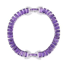 Amethyst (Bgt), Natural Cambodian White Zircon Bowknot Tennis Bracelet (Size 7.5) in Rhodium Overlay Sterling Silver 21.585 Ct, Silver wt: 18.69 Gms.