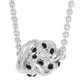 RACHEL GALLEY Boi Ploi Black Spinel (Rnd) Knot Pendant in Rhodium Overlay Sterling Silver Necklace (Size 20) 0.060 Ct, Silver wt 10.17 Gms.