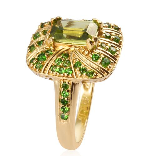 GP Hebei Peridot, Russian Diopside and Blue Sapphire Ring in 14K Gold Overlay Sterling Silver 2.22 Ct.