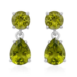 Chinese Peridot (5.14 Ct) Sterling Silver Earrings 5.140  Ct.