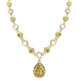 12.30 Ct Hebei Peridot and Zircon Y Necklace in Gold Plated Sterling Silver 18 with 2 inch Extender