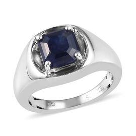 GP Masoala Sapphire (Asscher Cut), Blue Sapphire Ring in Platinum Overlay Sterling Silver 2.02 Ct, S