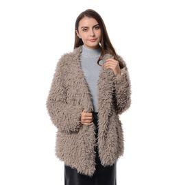 Faux Fur Long Sleeves Short Coat (Size L - XL) Beige Colour