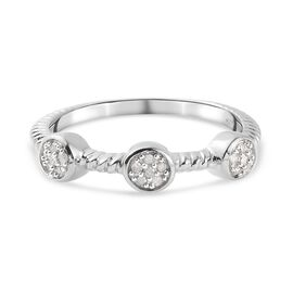 Diamond Constellation Cluster Ring in Platinum Overlay Sterling Silver