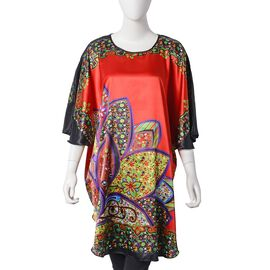 Red and Multi Colour Apparel with Lotus Flower Pattern (Size 75X90 Cm)