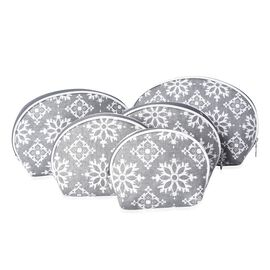 Set of 5 - Damask Pattern Cosmetic Bags with Zipper Closure - Grey