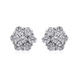 9K White Gold SGL Certified Diamond (Rnd) (I3/G-H) Pressure Set Floral Earrings (with Push Back) 1.0