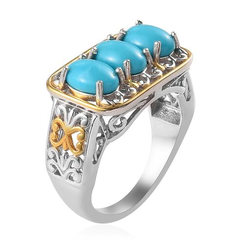 Arizona Sleeping Beauty Turquoise (Ovl) Three Stone Ring in White and Yellow Gold Overlay Sterling Silver 2.25 Ct.