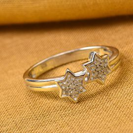 Diamond Twin-Star Platinum Over Sterling Silver Ring