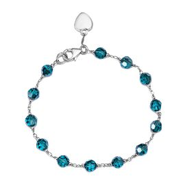 J Francis - Crystal from Swarovski Blue Zircon Crystal (Rnd) Bracelet (Size 7.5) with Heart Charm in