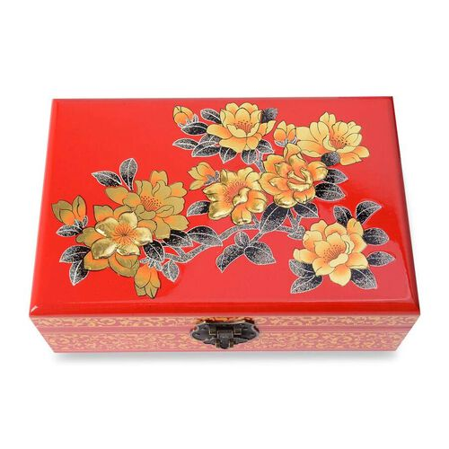 2 - Layer Begonia Pattern Jewellery Box with Inside Mirror and Removable Tray (Size 21x14x7.5 Cm) - Red