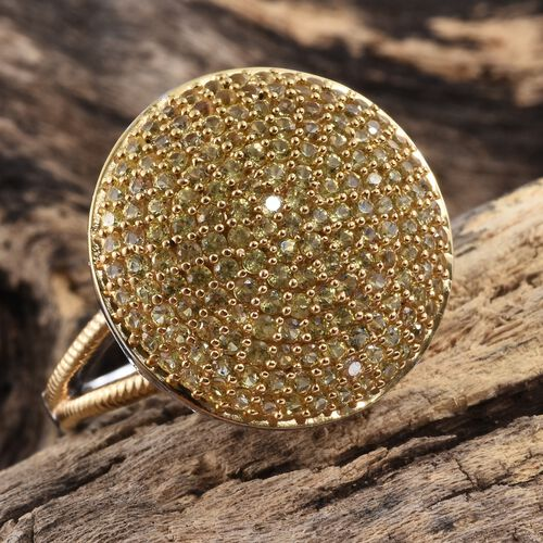 Chanthaburi Yellow Sapphire (Rnd) Cluster Ring in Platinum and Yellow Gold Overlay Sterling Silver 3.250 Ct.No. Of Stones 166 Pcs. Silver wt 7.47 Gms.