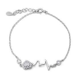ELANZA Simulated Diamond (Rnd) Adjustable Bracelet (Size 6.5 with 1 inch Extender) in Rhodium Overla