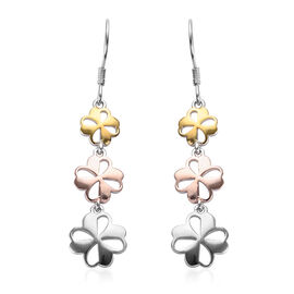 Platinum, Yellow and Rose Gold Overlay Sterling Silver Floral Hook Earrings
