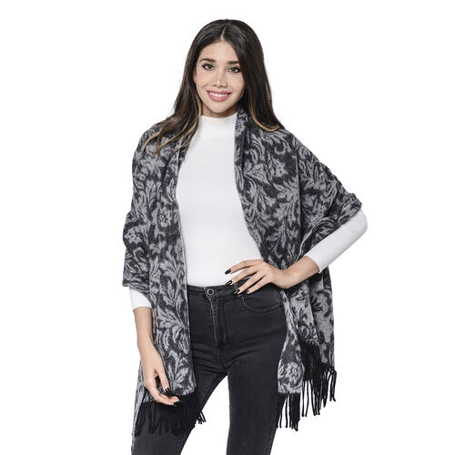 LA MAREY Super Soft 100% Lambswool Jacquard Leaves Pattern Showl with Tassels (180x70cm) - Black and
