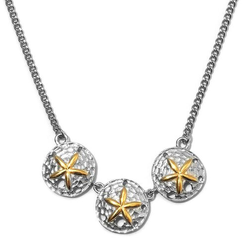 Platinum and Yellow Gold Overlay Sterling Silver Starfish Necklace (Size 18), Silver wt. 6.60 Gms