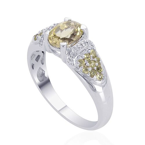 Green Sillimanite (Ovl 1.25 Ct), Hebei Peridot and Diamond Ring in Platinum Overlay Sterling Silver 1.500 Ct.
