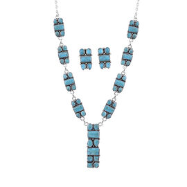 Santa Fe Collection - 2 Piece Set Artisan Crafted Turquoise Necklace (Size 18-20) and Earrings (with
