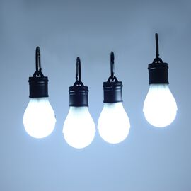 4 Piece Set - Camping LED Light with Carabiner - Black and White