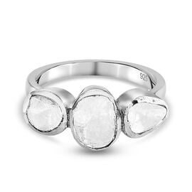 Polki Diamond Ring in Platinum Overlay Sterling Silver 0.51 Ct.