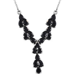 One Time Mega deal-Boi Ploi Black Spinel (Pear) Necklace (Size 18) in Stainless Steel 11  Ct.