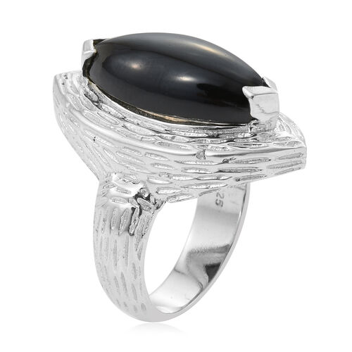 Boi Ploi Black Spinel (Mrq) Ring in Sterling Silver 12.800 Ct., Silver wt 6.74 Gms.