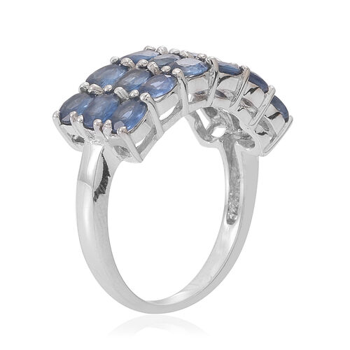 Kanchanaburi Blue Sapphire (Ovl) Ring in Rhodium Plated Sterling Silver 3.500 Ct.